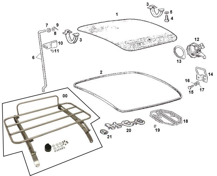 GAC4003SS MGB /& MGC STAINLESS STEEL BOOT RACK /& FITTINGS