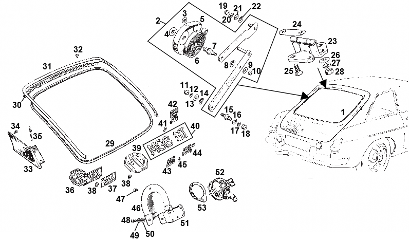 mgb gt tailgate \u0026 fittingsMgb Fuse Box Wiring Diagram As Well 1967 Mgb Hood Seal To Body On New #19