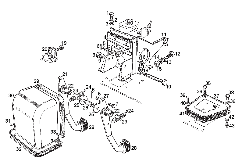 mgb - pedal box assembly