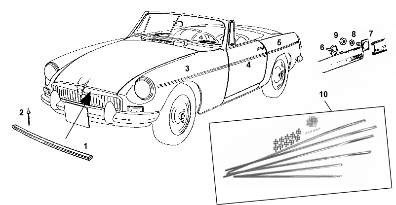 MGB Roadster Front screen glazing kit